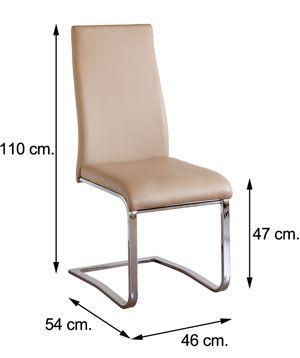 Medidas silla CAMILA tapizado símil piel beig