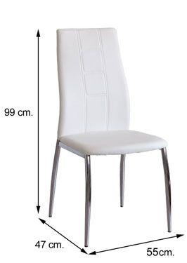 Medidas silla ROXANA tapizado polipiel blanca
