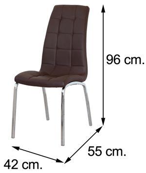 Medidas silla salón comedor ALEX polipiel chocolate