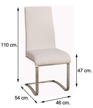 Medidas silla CAMILA tapizado símil piel blanca
