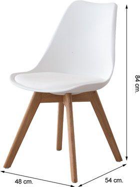 Medidas silla ESCARLATA tapizado símil piel blanco