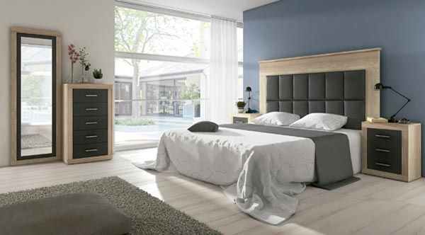 Dormitorio Laura Cambrian Grafito, cabecero tapizado