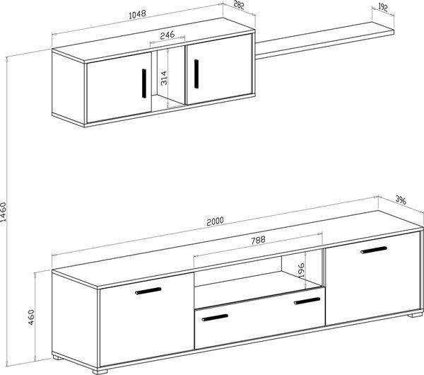 Librer a barata diana en cambrian o blanco muebles sal n for Medidas mueble salon