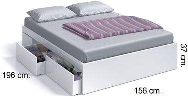 006088 BO Estructura de cama 4 cajones blanco brillo
