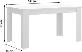 Mesa DINE Blanco Brillo 140 cm.