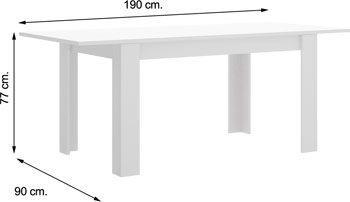Mesa DINE Blanco Brillo 190 cm.