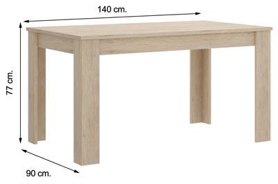 Mesa DINE Roble Natural 140 cm.