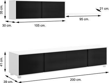 Mueble salón LINE Blanco Negro