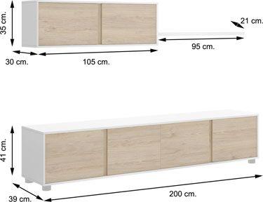Mueble salón LINE Blanco con Natural
