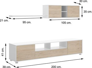 Mueble salón KUBE Blanco con Natural