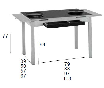 medidas mesa cocina extensible cristal negro